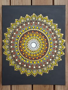 Kaylabreen2016© all rights reserved  Hand Painted Dot Flower Mandala Painting -Background is a matte black with acrylic paints sealed with a varnish -Canvas size is 16x 20 inch This sun inspired mandala is a phenomenal symbol to tap into when we need love, warmth, acceptance and healing in our lives. The sun represents many higher aspirations and carries with it incredible power, and its just waiting for you to utilize what it has to offer.  Due to the hand painted nature of each of these…