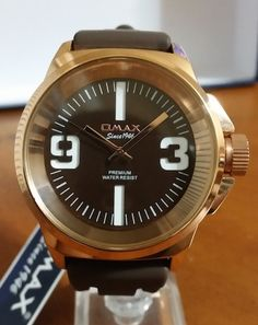 Omax H005R55A Men's Watch Brown Dial Rose Tone Bezel Brown Silicone Strap Clean