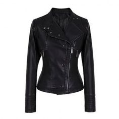 $16.91 Single Breasted Zippers Beam Waist PU Leather Solid Color Jacket For Women