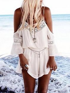 2cabbc18deb New 2015 Jumpsuit Women Straps Halter Crochet Boho Playsuits White Ladies  Summer Beach Jumpsuits Romper Macacao Mono Mujer