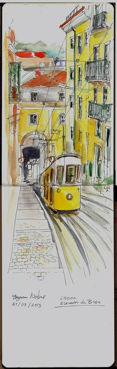Urban Sketchers Portugal: Elevador da bica É Lisboa, mas poderia ser Santa Tereza, né? Voyage Sketchbook, Travel Sketchbook, Arte Sketchbook, Pen And Watercolor, Watercolor Landscape, Watercolor Paintings, Watercolor Trees, Watercolor Portraits, Abstract Paintings