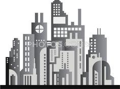 Stock Illustrations: City Skyline Grayscale