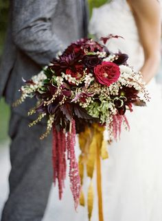 gorgeous colors in this fall bouquet | Photo by Jose Villa #mustard #burgundy