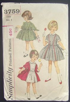 nice Vintage 1960s Simplicity Childs Sewing Pattern 3759 Size - 4 Childs One Piece Dress