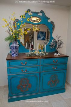 20 DIY Cabinet Door Makeovers with Furniture Stencils  Royal ...