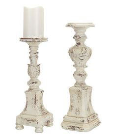 Look what I found on #zulily! Antiqued Ivory Candleholder Set #zulilyfinds