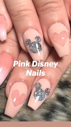 Disney Acrylic Nails, Halloween Acrylic Nails, Summer Acrylic Nails, Disney Nails, Cute Acrylic Nails, Cute Nails, Matte Pink Nails, Pink Nail Art, Purple Nails