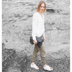 #whiteshirt #greenspants #jogpants