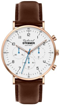 Richard Steiner Generation One Watch Brands, Gentleman, Leather, Accessories, Fashion, Designer Clocks, Pointers, Leather Cord, Branding