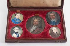 Early boxed collection of Roe family portrait miniatures including an oil on copper of Andrew Roe (1654-1713) 2 1/2 x 2 inches, scattered ab...