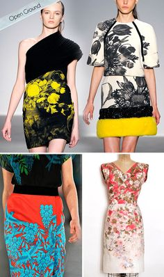 "Floral Trend for Fall 2012. Advice given by Michelle Fifis on her Pattern Observer Blog.         ""Open Ground: Try playing around with an open ground or engineered layout. We have seen this trend done with oversized florals, but using a bouquet of medium sized flowers has an updated feel."" * images via Giambattista Valli Fall '11 via vogue.com, The Big Apple via Etsy, Jonathan Saunders Fall '11 via <a href='http://vogue.com' target='_..."
