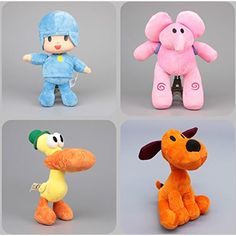 Pocoyo Dog Loula Elephant Elly Duck Pato Toddler Stuffed Plush Kids Toys 4 Pcs/set ** Check out this great product. (This is an affiliate link) #PlushFigures
