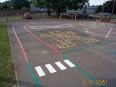 Childrne's playground games markings combined with Road markings - helpful for road safety and cycling proficiency. Playground Safety, Playground Games, Playground Design, Outdoor Playground, Children Playground, Outside Activities, Outdoor Activities, Outdoor Games, Playground Painting