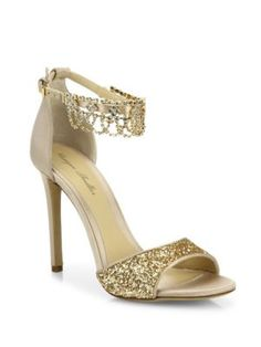 Blake's shoes for after party dress - Monique Lhuillier - Evelyn Jeweled Suede & Glitter Sandals