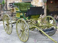 Coche de caballos buggy en madera, con capota, para tronco o limonera / Antigüedades en todocoleccion