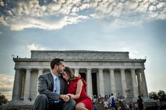Powerful backdrop with a rad sky. #lincolnmemorial #DC #engagement #love #couple #steps #sky