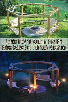 Thinking of improving your outdoor living space? If you have a wonderful open space, then this fire pit swing set is perfect for you! firepit Build Your Own Fire Pit Swing Set Fire Pit Swings, Fire Pit Area, Fire Pit Backyard, Backyard Patio, Backyard Landscaping, Fire Pit Pergola, Fire Pits, Pergola Swing, Pergola Kits