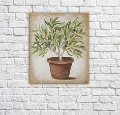 """Tableau représentant un plant d'olivier peint sur toile de lin brute, entoilée par mes soins. Donner un air de vacances à votre intérieur, les cigales vont """"chanter """" comme on - 23353"""