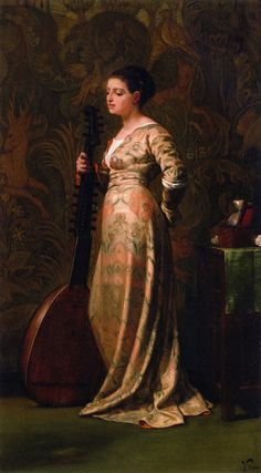 "♪ The Musical Arts ♪ music musician paintings - ""Girl with a Lute"", 1866, by Elihu Vedder (American, 1836-1923)"