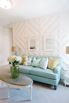 Wall treatment for media room: Paneled detailing in a Utah home designed by Lindy Allen of Four Chairs Furniture & Design (via House of Turquoise). House Of Turquoise, Turquoise Couch, Home Living Room, Living Room Decor, Living Room Accent Wall, Feature Wall Living Room, Home Furniture, Furniture Design, Furniture Ideas