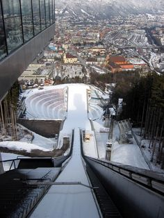 view from the ski jump to Innsbruck, tyrol
