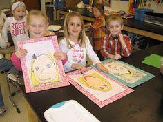 "Kindergarten Art: Self Portraits with book ""ABC, I Like Me"""