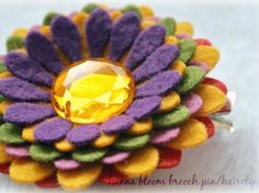 Autumn Daisy-Fall colors Hanna Bloom-BroochPin-Hairclip or Headband- Perfect for Fall. Clip on your headband or ponytail