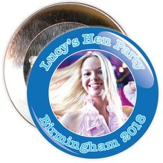 A customisable hen night badge with blue border and light blue text. These hen party badges are customised with a photo, the name of the hen and a location.