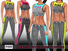 Pink Trendy Fitness Outfits design by Saliwa Found in TSR Category 'Sims 4 Female Athletic'