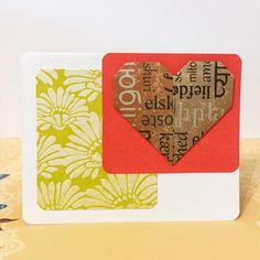 Heart Shape Card Origami Blank Card Love Card by TheCraftedLounge