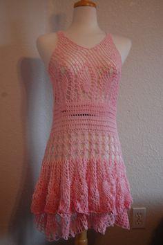 Crochet Dress Pink Cotton 2 Layer Ruffle Skirt Size by LoyesThread, $80.00