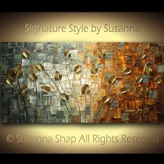 ORIGINAL Abstract Contemporary CAMO Heavy Texture Brown Grey Tulips Painting Palette Knife Impasto Landscape by Susanna 48x24 Ready to Hang. $375.00, via Etsy.