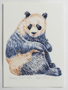 panda art print illustration bear drawing blue white by eeliethel, $19.00