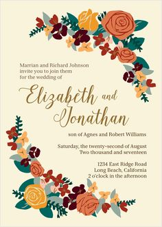 The Illustrated Corner Wreath Wedding Invitation