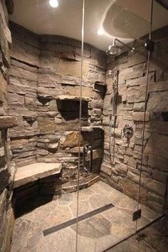 Cabin in a Cabin - Gravenhurst ON rustic - love the rock wall appearance and she. Cabin in a Cabin - Gravenhurst ON rustic - love the rock wall appearance and shelves Rustic Bathroom Designs, Modern Bathroom, Minimalist Bathroom, Bathroom Vintage, Shower Designs, Design Bathroom, 1950s Bathroom, Simple Bathroom, Design Kitchen