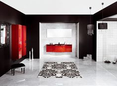 Bathroom, Best 11 Luxury Modern Bathroom Designs from Schmidt: Luxury Modern Style Bathroom Design In Black White And Red Accents Bathroom Design Black, House Design, White Bathroom Decor, Modern Bathroom Decor, Bathroom Design, Bathroom Red, Best Bathroom Designs, Black Walls, Modern Bathroom Design