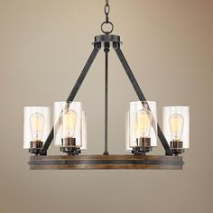 """$399 like two-tone, not rods Gorham 25"""" Wide 6-Light Gray Wood Chandelier"""