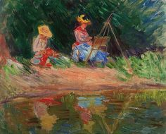 1887Claude Monet - Blanche Monet painting with her sister Suzanne by the river