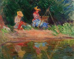 """""""Blanche Monet peignant avec sa soeur Suzanne au bord de l'eau"""", par Claude Monet, 1887. Veja também: http://semioticas1.blogspot.com.br/2012/12/inventando-abstracao.html"""