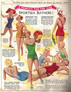 Check out these wonderful Sportsea Bathers from 1936-37. #vintage #1930s #fashion #beach #swimsuits