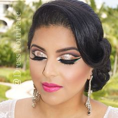 Landed back to LAX early! Figured I have time to squeeze in one more post- and what's better than ending the night with the final look on my 3-day destination wedding bride ❤️ Each of the 3 looks featured glittery eyes but we saved the best and fanciest one for last, a floating cut-crease Arabic eye using @shopvioletvoss new holiday glitter in Champagne Kisses ✨ and topped it off with @model21lashes in no.6 (one of my faves!). Lips are @maccosmetics Girl About Town  Hair and makeup by me ...