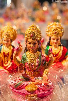 Goddess Lakshmi by Sameer Attharkar on Lord Durga, Durga Kali, Saraswati Goddess, Goddess Art, Lord Vishnu, Lord Shiva, Durga Images, Lakshmi Images, Lakshmi Statue