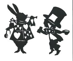 White Rabbit Alice In Wonderland Silhouettes Clipart