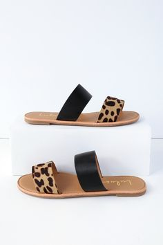 Kick back and enjoy your new purchase; the Time to Chill Black Leopard Slide Sandals! These simple vegan leather slides are lightly cushioned for comfort. Sandals Outfit, Cute Sandals, Flat Sandals, Slide Sandals, Sandals Platform, Sandal Heels, Flat Shoes, Trendy Sandals, Women's Flats