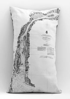 Detroit river map pillow