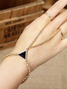 Golden Stone Triangle Double Finger Ring Bracelet