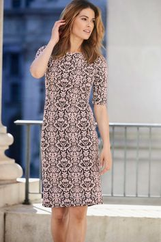 Jacquard Textured Dress - This pretty short sleeve dress from our David Emanuel collection is the perfect dress all season. With an eye catching jacquard design and on a stretch fabric for a figure flattering look.