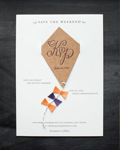 Kate + Philip's Whimsical Kite Save the Dates via Oh So Beautiful Paper: http://ohsobeautifulpaper.com/2014/02/kate-philips-sophisticated-calligraphy-wedding-invitations/ | Design: Atheneum Creative | Calligraphy: Meant to Be Calligraphy | Photo: Chelsea Davis Photography #wedding
