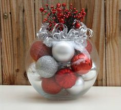Christmas Centerpiece - Red and Silver Holiday Decoration - Hostess Gift - Christmas Event Centerpiece - Corporate Christmas Party Want a beautiful and unique centerpiece for your christmas table? We offer unique, handmade christmas decor to compliment your personal christmas