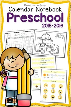 Preschool Calendar Notebook: updated for 2015-2016!  Practice days of the week, months of the year, numbers, ABCs, emotions, and more!